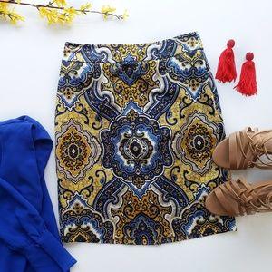 Ann Taylor Blue & Yellow Pencil Skirt (NWOT)